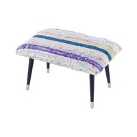 Pasargad Home par-66 Bosphorus Collection Vintage Kilim Cover Ottoman, Blue - 24 x 16 x 16 in.
