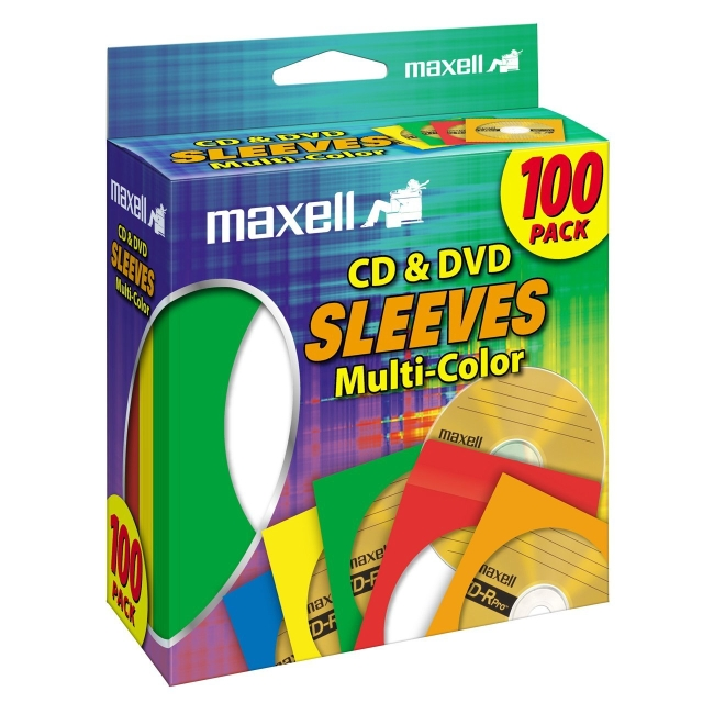 Maxell 190132 CD403 CD/DVD Storage Sleeves, 100pk