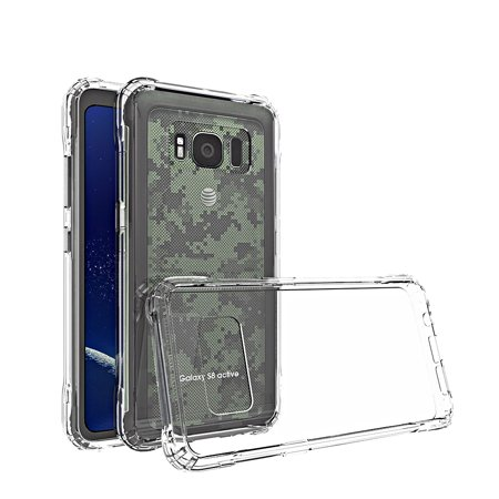 Galaxy S8 Active Case, KAESAR Slim Scratch-Resistant Shockproof Hard PC+TPU Bumper Protective Armor Defender Cover for Samsung Galaxy S8 Active (Clear Bumper) (M75 Cell)