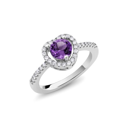 0.98 Ct Round Purple Amethyst Platinum Plated Sterling Silver Heart Shape Ring](Purple On Mood Ring)
