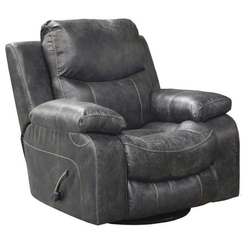 Catnapper Catalina Leather Power Glider Recliner in Steel