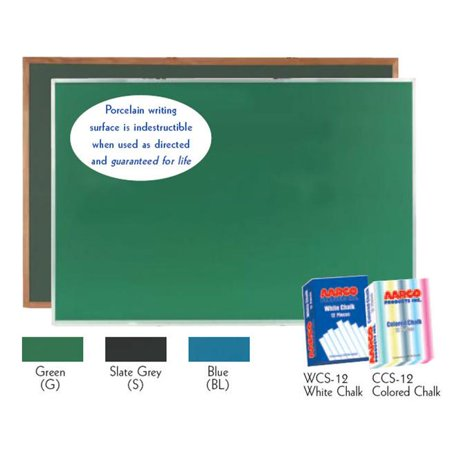 - Aarco Products DS3660G Porcelain on Steel Chalkboard Satin Anodized Aluminum Frame - Green