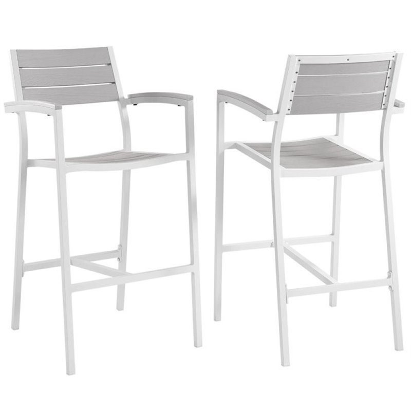 "Pemberly Row 29"" Patio Bar Stool in White and Light Gray (Set of 2)"