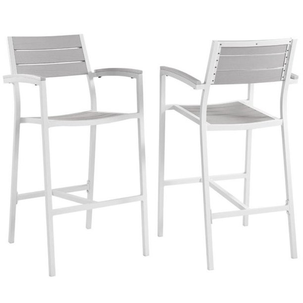 Pemberly Row Contemporary Style 29 Outdoor Patio Bar Stool In White And Light Gray Set Of 2 Walmart Com Walmart Com