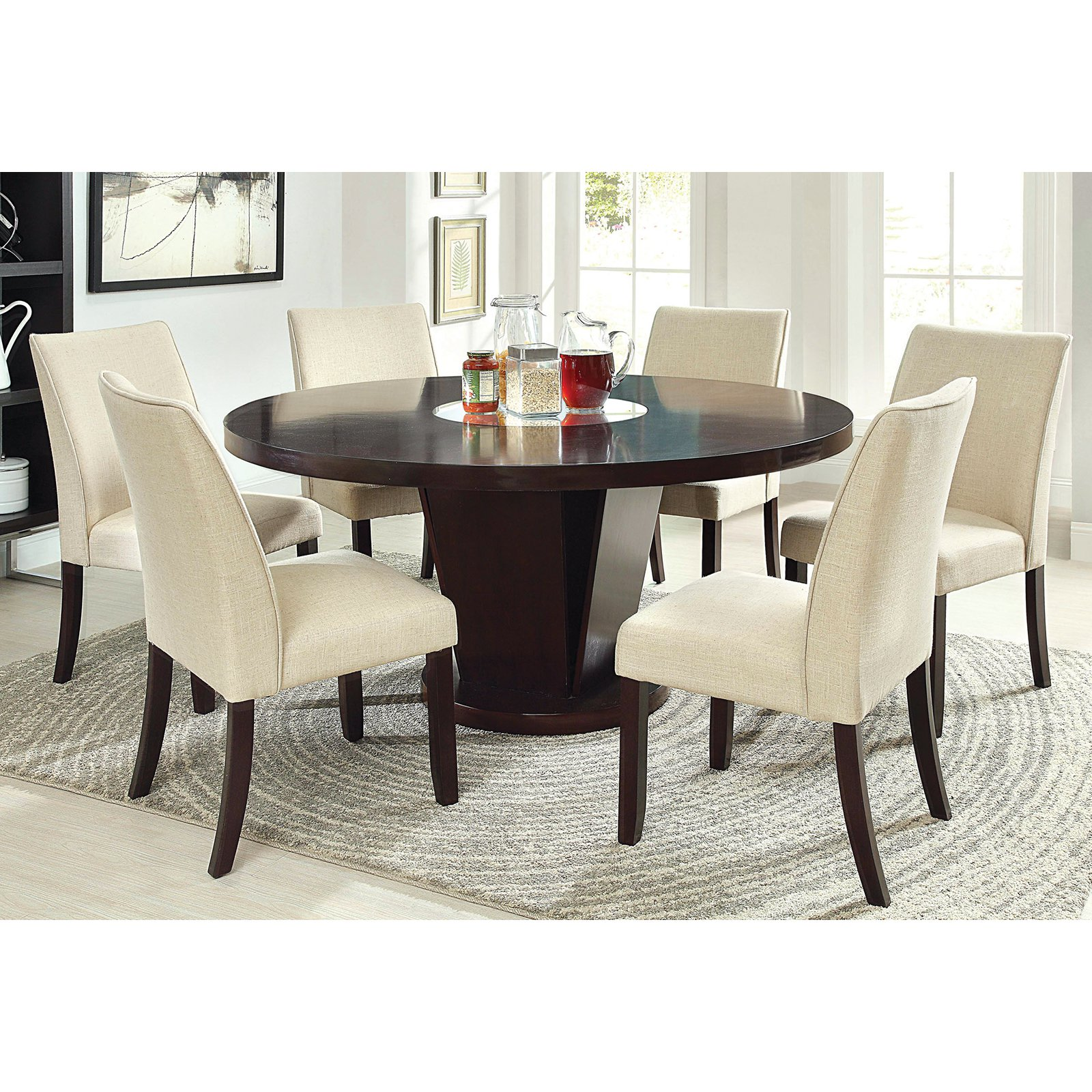 Furniture Of America Vessice 7 Piece Round Pedestal Dining Set Espresso
