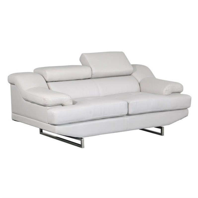 Global Furniture USA Natalie Leather Loveseat in Gray Walmart