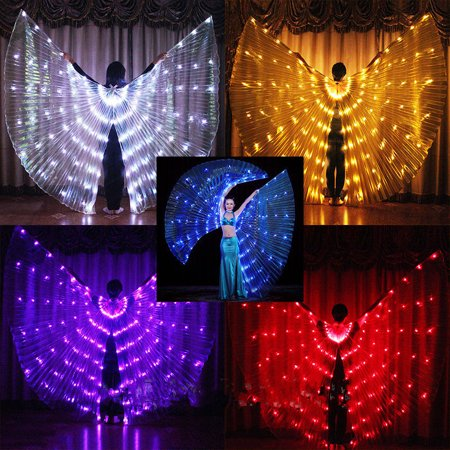 Rechargeable LED Isis Wings Belly Dance Cosplay Glow light Up Costume Sticks Bag
