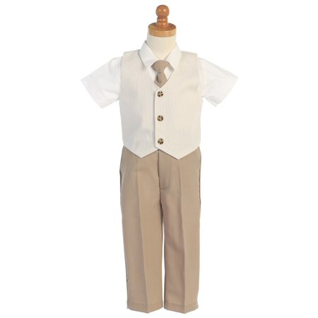 Khaki Seersucker Vest Pant Suit Set Boys 12M-4T