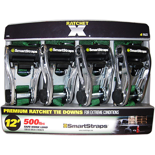 SmartStraps 12' 1500 lbs. RatchetX, Green 4 Pack
