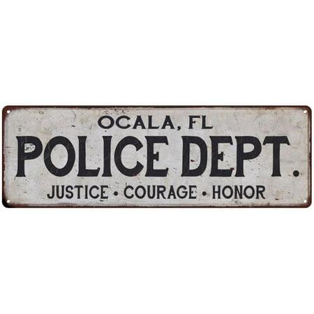 OCALA, FL POLICE DEPT. Home Decor Metal Sign Gift 8x24 108240012634 ()