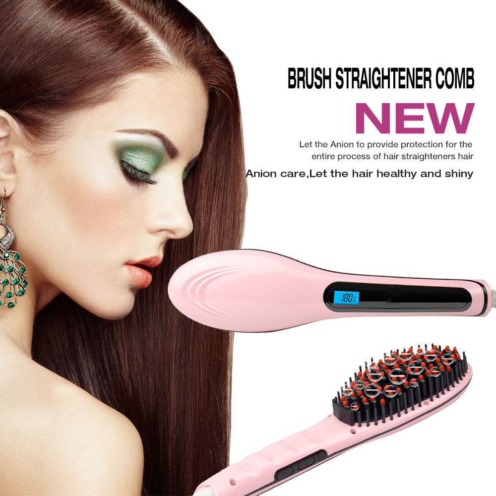 Coastacloud Electric Brush Straightener Comb  with LCD display,MassagerS Straightening Tools ,AUTO Hair Straightening Anti-creeping Plug,Anti-Scald,Women Gifts