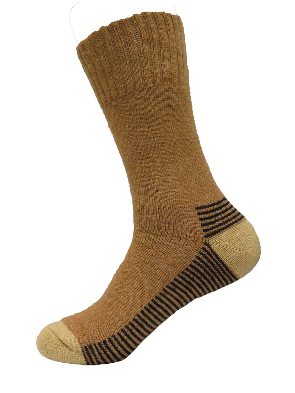 Mens Super Warm Heavy Thermal Merino Wool Winter Socks 10-13 (Pale Brown)