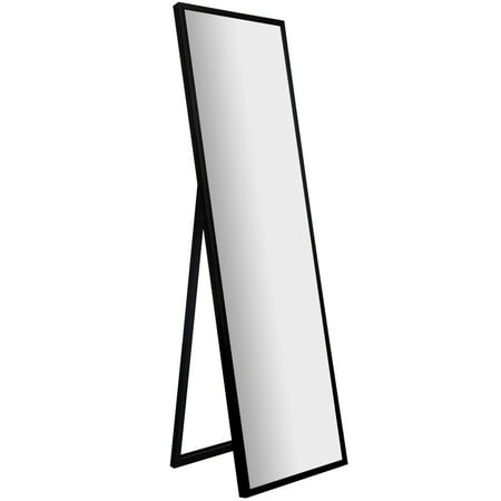 Framed Black Floor Free Standing Mirror with Easel 16