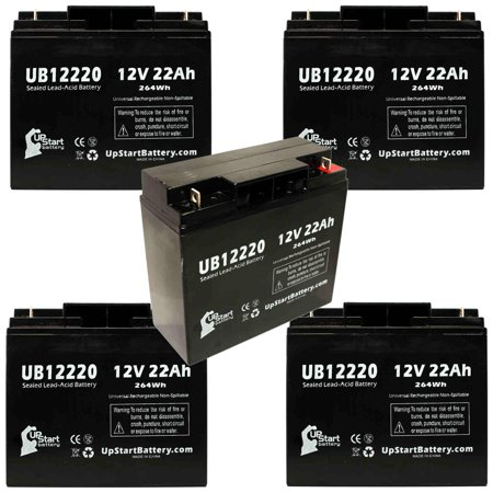 5x Pack - Compatible Topaz 84864-01 Battery - Replacement UB12220 Universal Sealed Lead Acid Battery (12V, 22Ah, 22000mAh, T4 Terminal, AGM, SLA)