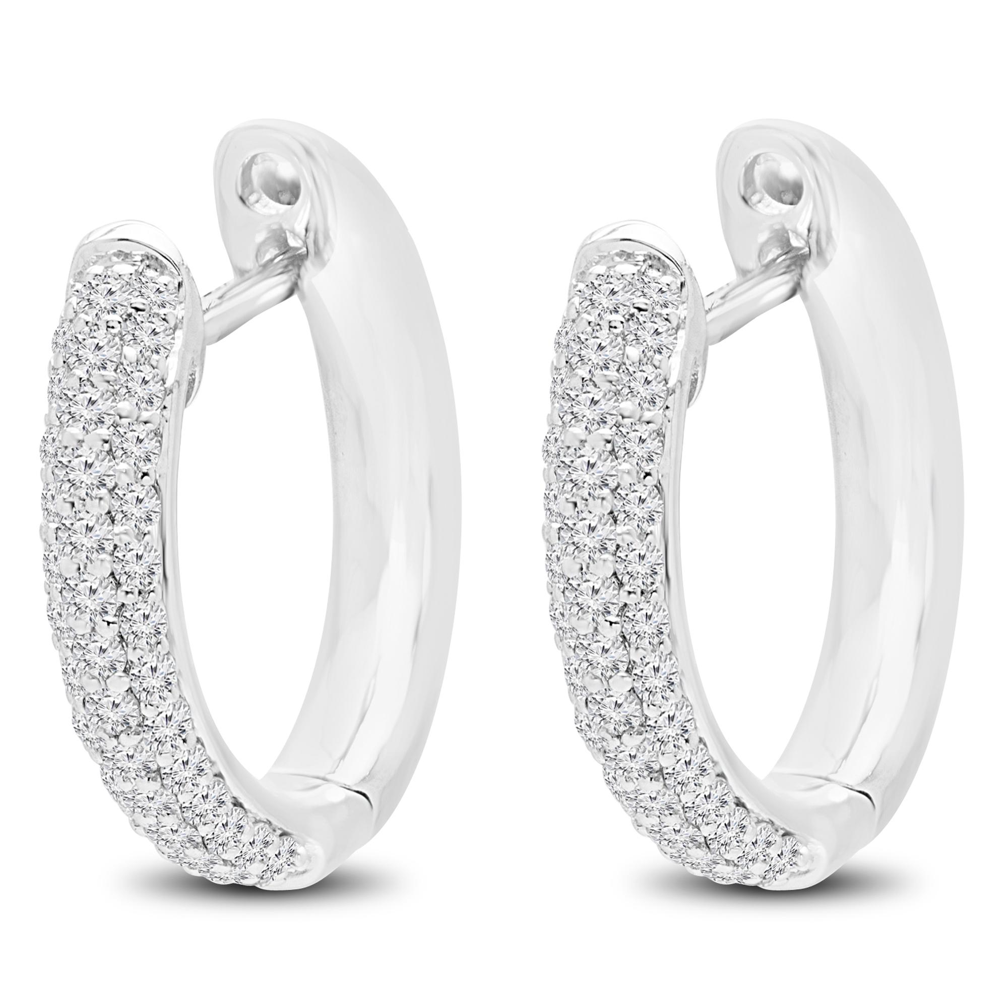 1/2 CTW Round Diamond Hoop Earrings in 14K White Gold (MDR170116) - image 2 de 2