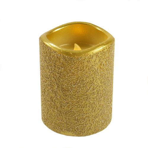 """4"""" Gold Beaded Elegant Battery Operated Flameless LED Wax Christmas Pillar Candle"""