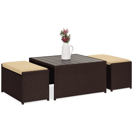 Best Choice Products 3-Piece Outdoor Modern Wicker Coffee Table Conversation Furniture Set for Patio, Porch w/ Wood Tabletop, 2 Ottoman Benches, Cushioned Seating,