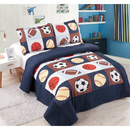 Golden Linens 3 Pieces Full Size Quilt Bedspread Set Kids Sports Basketball Football Baseball For Boys Girls
