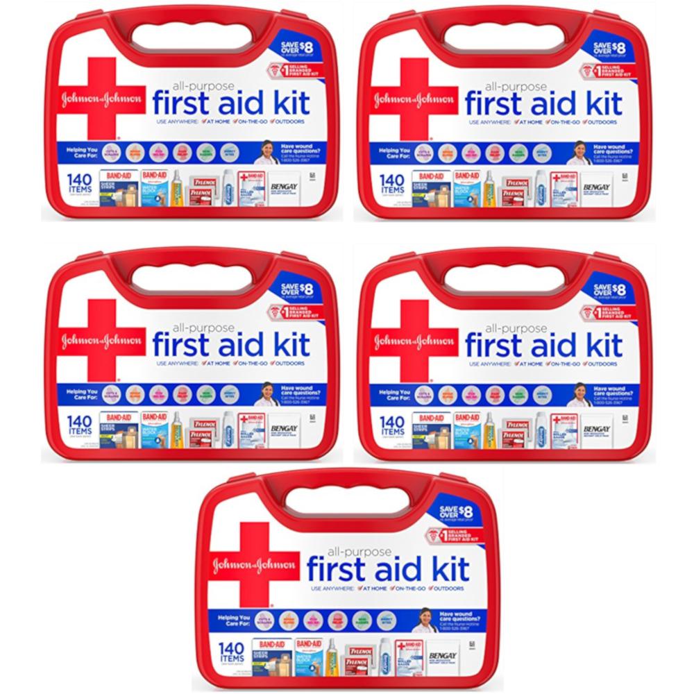 5 Pk Johnson & Johnson All Purpose First Aid Kit Emergency Survival Gear 140 Pc