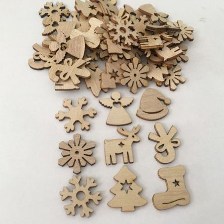 AkoaDa 100 Pcs Christmas Tree Decorations, Wooden Ornaments Pendant Christmas Tree Hanging Ornaments, DIY Pendants Environmentally Friendly Natural Retro Color Creative Cartoon Wood Chips ()