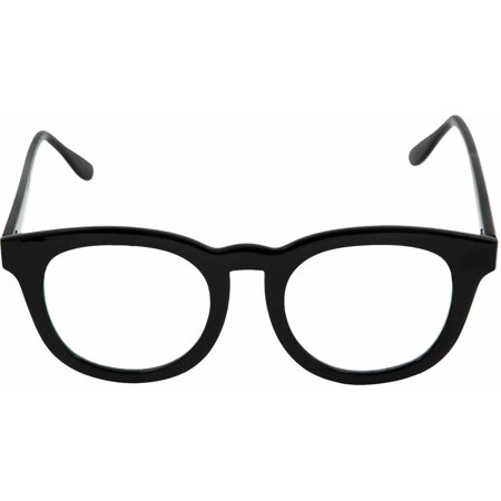 Black Basic Combat Glasses (Clear Lens) Adult Halloween (Halloween Glasses)