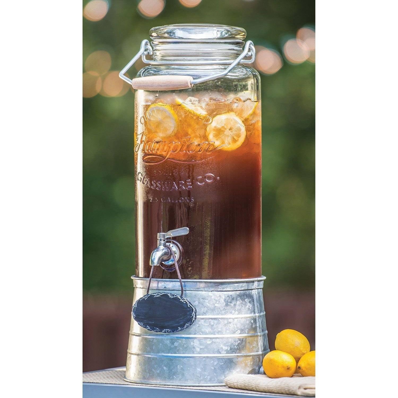 Farmstand 2 5 Gallon Gl Beverage Dispenser With Galvanized Steel Frame Vintage