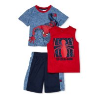 Marvel Spider-Man Boys Tank, Graphic T-shirt & Shorts, 3-Piece Outfit Set, Sizes 4-7