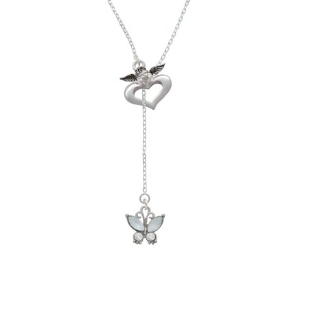 Butterfly with White Wings & Clear Crystals - Guardian Angel Lariat Necklace