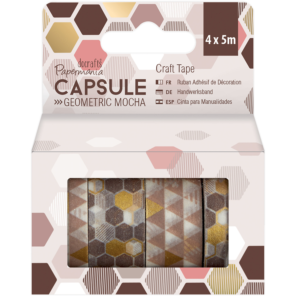 Papermania Geometric Mocha Craft Tape 4/Pkg-