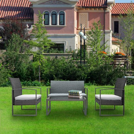 Outdoor Furniture on Clearance, 4-Piece Wicker Rattan Patio Furniture, Garden Lawn Pool Backyard Outdoor Conversation Sofa Set with Weather Resistant Cushions and Tempered Glass Tabletop, S10237 ()