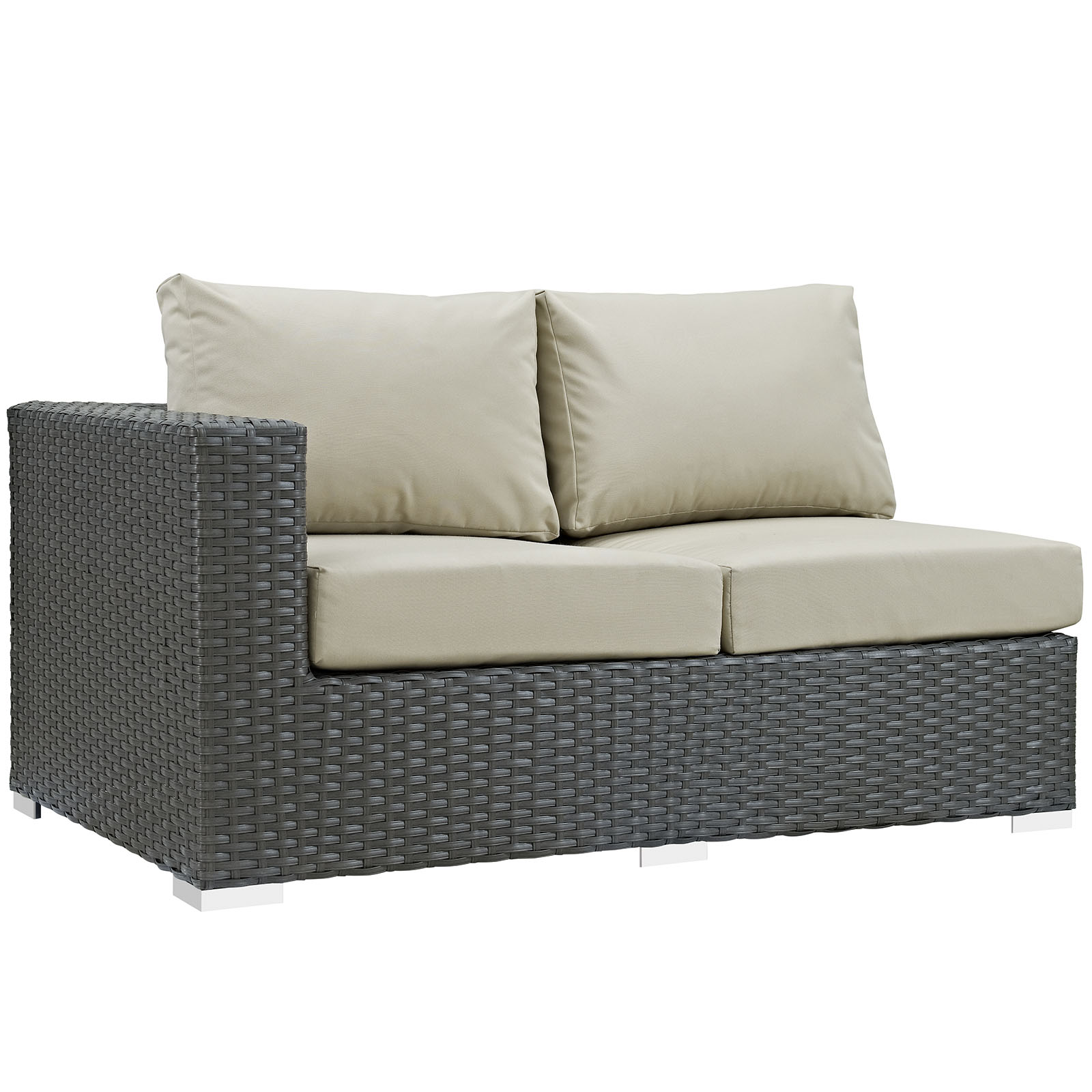 Modern Contemporary Urban Design Outdoor Patio Balcony Left Arm Loveseat Sofa, Beige, Rattan