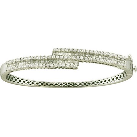 (1.50 Carat (ctw) 14k White Gold Round & Baguette Cut White Diamond Ladies Fashion Bangle Bracelet)