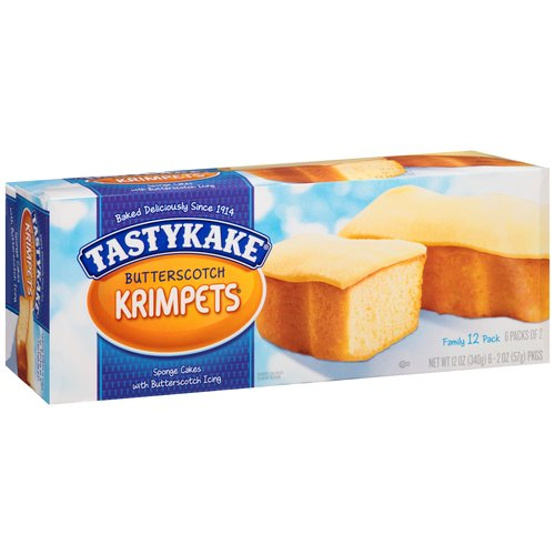Tastykake Butterscotch Krimpets Iced Sponge Cakes, 12 ct, 12 oz