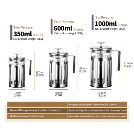French Press Coffee Maker Cafetiere Percolator Tool Coffee Tea Brewer Pot - image 2 of 6