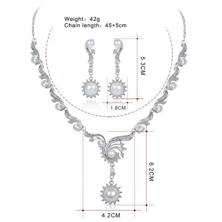 Women Girls Jewelry Set Elegant Pearl Rhinestone Necklace + Earring Eardrop for Banquet Wedding Valentine's Day Gift - image 6 of 8