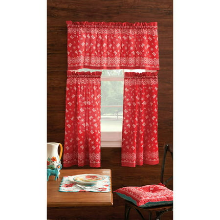 pioneer woman kitchen curtain valance 3 pc set bandana red 30 x 36 charming ebay