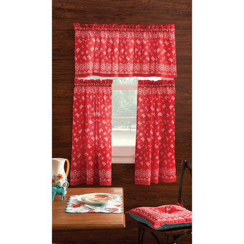 Pioneer Woman Kitchen Curtain and Valance 3pc Set, Bandana, Red