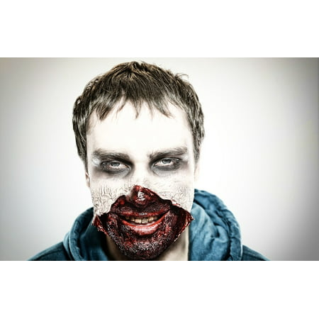 Horror Face Makeup (LAMINATED POSTER Shock Make-up Men Horror Spooky Face Zombie Poster Print 24 x)