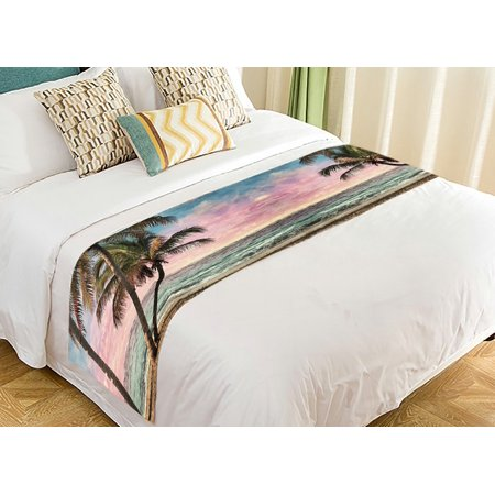 GCKG Seascape Bed Runner, Tropical Beach Palm Tree Artwork Bed Runners Scarves Bed Decoration 20x95 inch ()