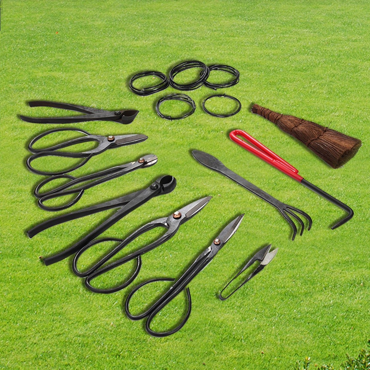 New MTN-G 10 PCS Bonsai Tools Set with Tool Roll Wires Case New Carbon Steel Shear Set by MTN Gearsmith