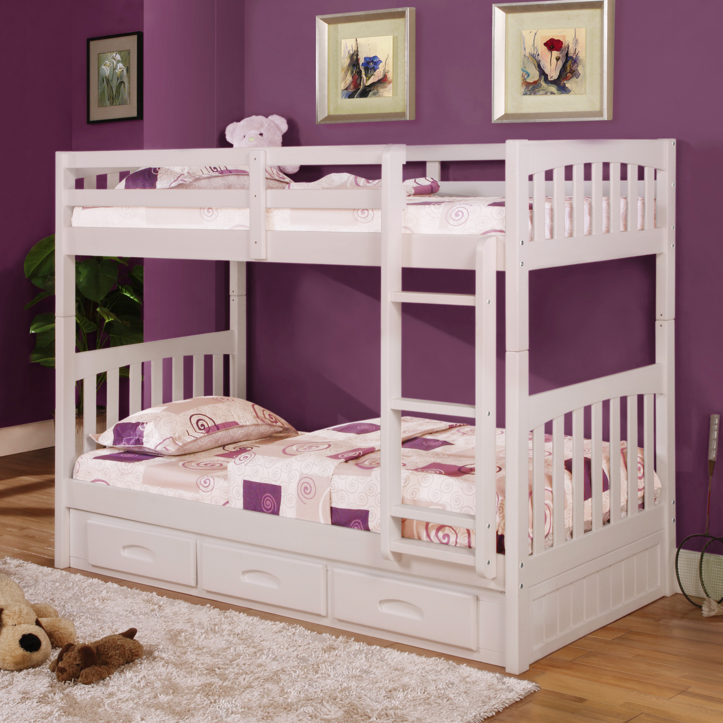 American Furniture Classics Model 0210-TTW, Solid Pine Twin/Twin Bunk Bed with Three Drawers in White