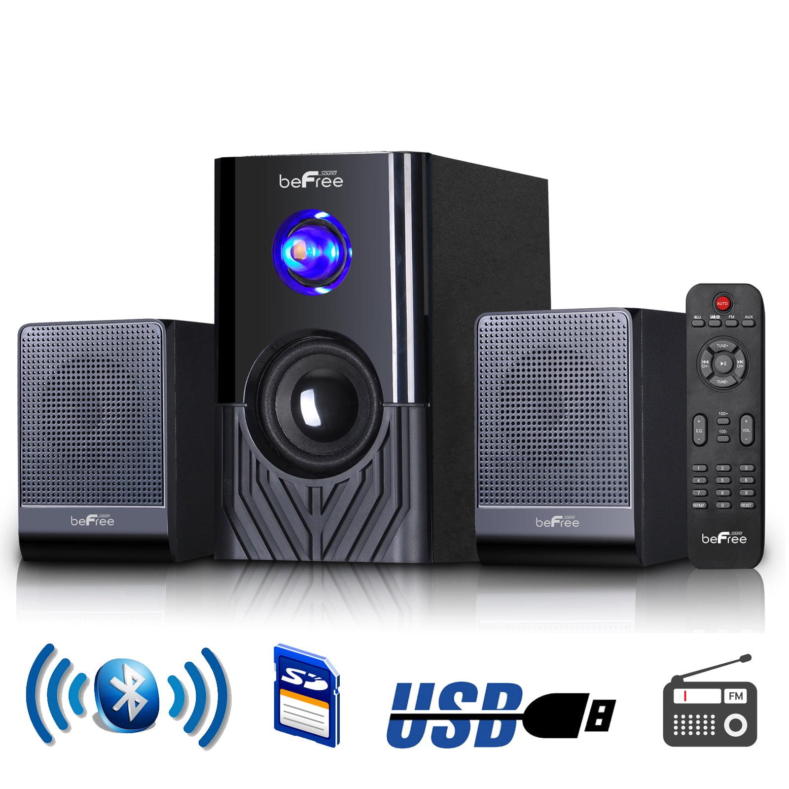 beFree Sound 2.1 Channel Multimedia Entertainment Shelf Bluetooth Speaker System