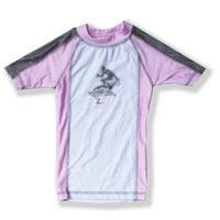 Azul Baby Girls Pink Gray Short Sleeve Trendy Solid Combo Rash Guard