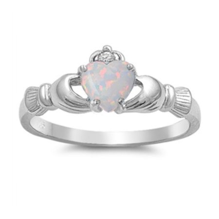 925 Sterling Silver Lab opal Gem Claddagh Ring