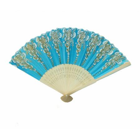 Hand Fan with Wooden Slab-blue - Wooden Fans