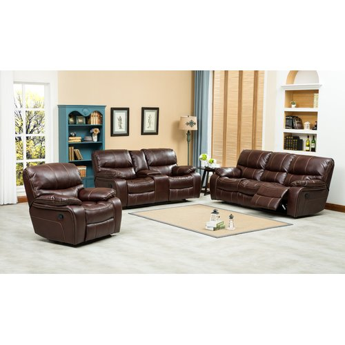 Roundhill Furniture Ewa Reclining 3 Piece Leather Living Room Set