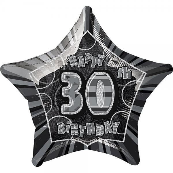 unique party 20 inch star foil balloon - 30th black/silver