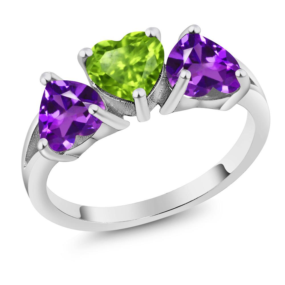 2.13 Ct Heart Shape Green Peridot Purple Amethyst 14K Whi...