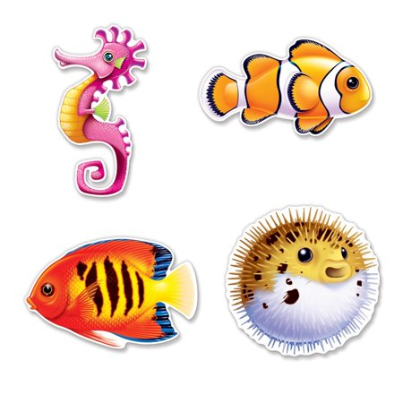 Club Pack of 48 Assorted Under The Sea Fish Cutout Decorations 12