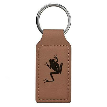 Keychain - Tree Frog (Dark Brown Rectangle)